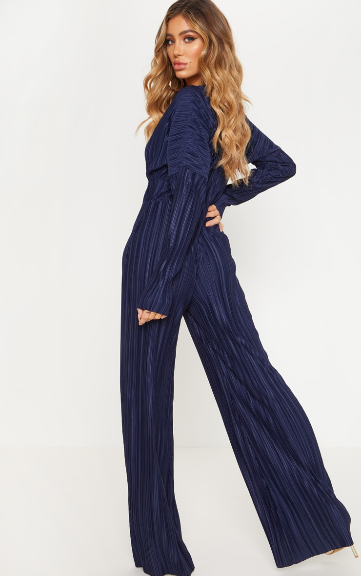 Navy Long Sleeve Pleated Jumpsuit 2