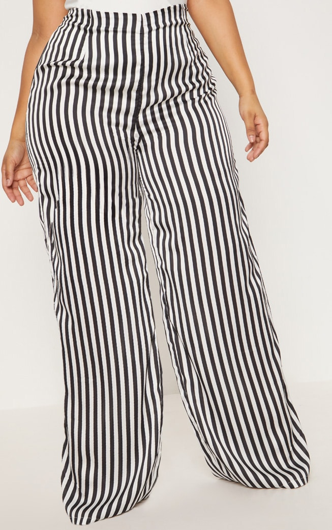 Plus Black Striped Satin Wide Leg Pants 2