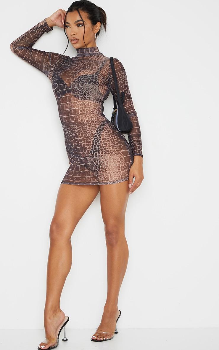 Brown Croc Print Mesh High Neck Long Sleeve Bodycon Dress 3