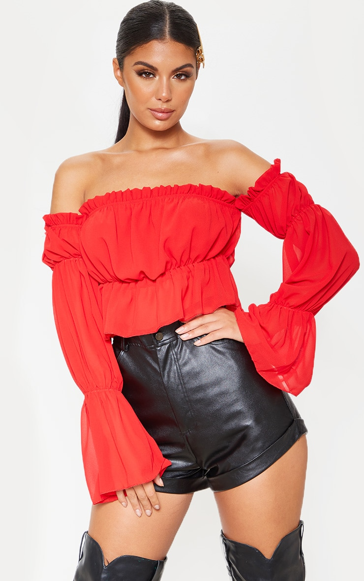 Red Woven Ruffle Bardot Flared Sleeve Blouse 1