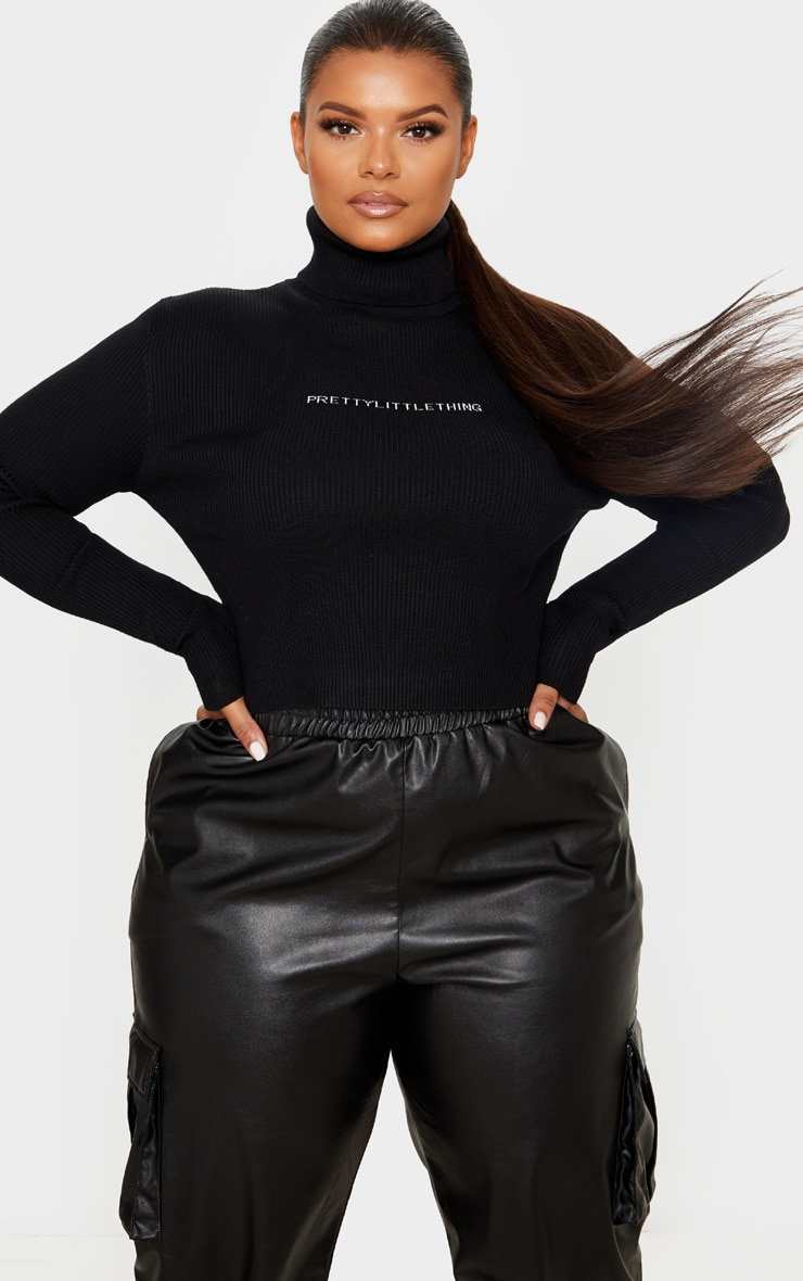 PRETTYLITTLETHING Plus Black Ribbed Sweater 1