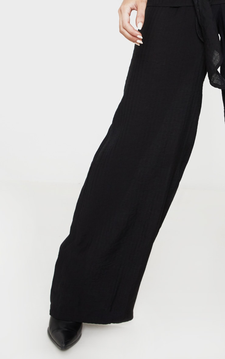 Black Cotton Wide Leg Trouser 5