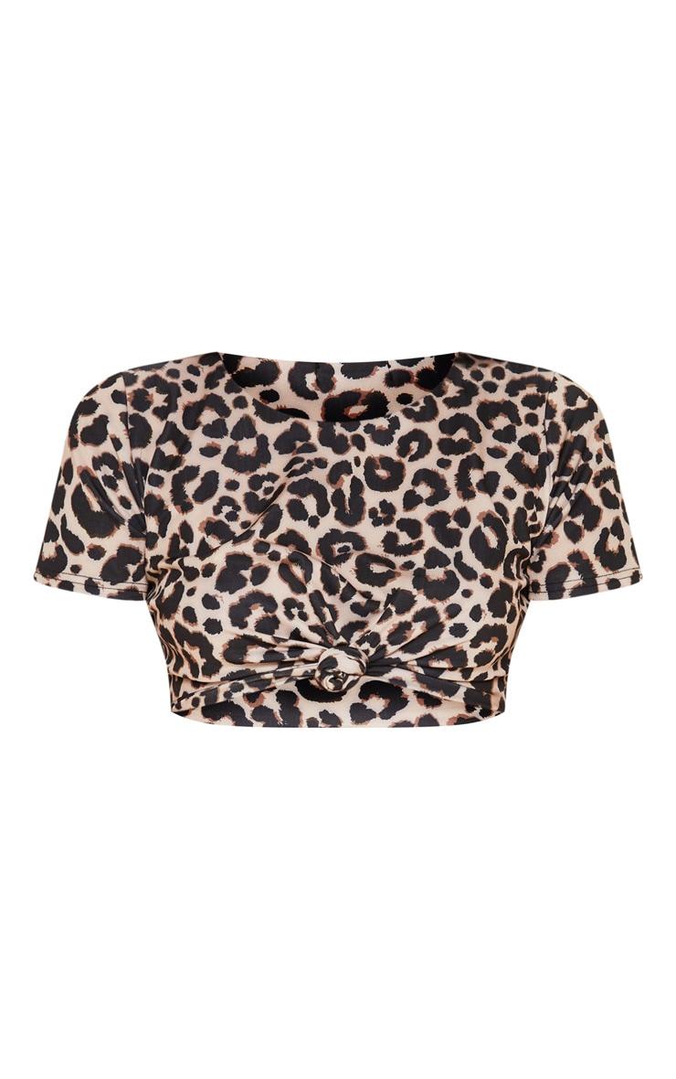 Leopard  T-Shirt Knot Bikini Top 3