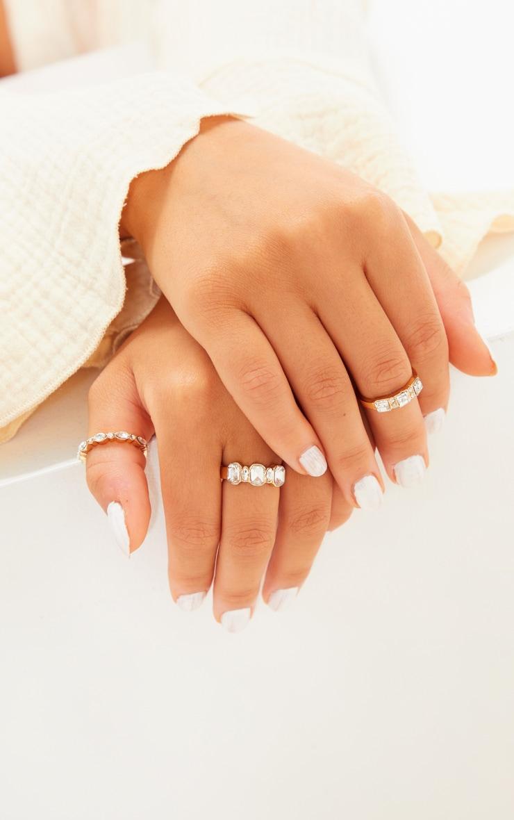 Gold Three Set Diamante Rings 3