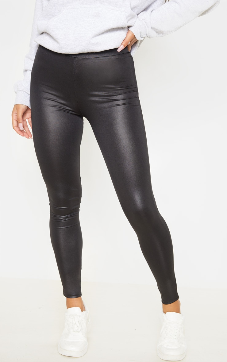 Tiana Black Wet Look Leggings 2