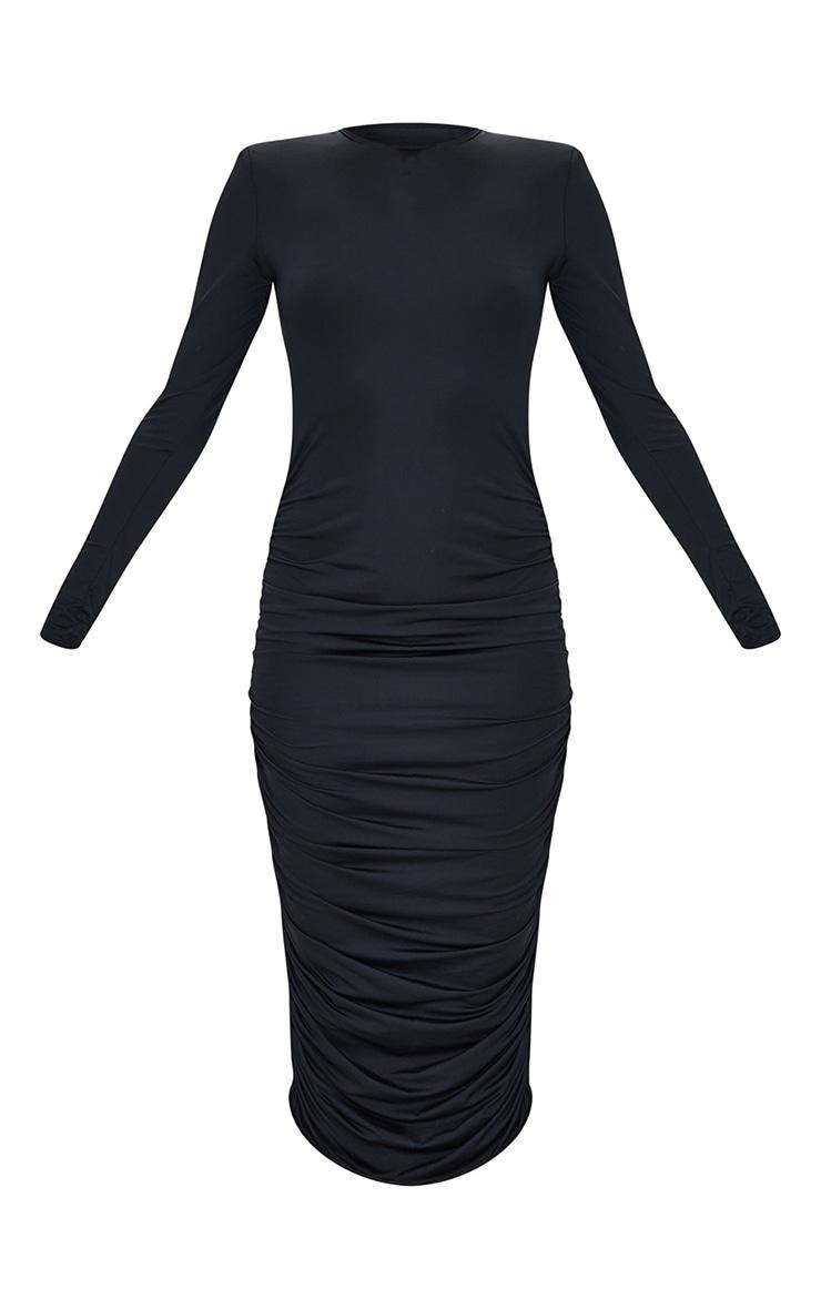 Black Slinky Shoulder Pad Ruched Long Sleeve Midaxi Dress 5