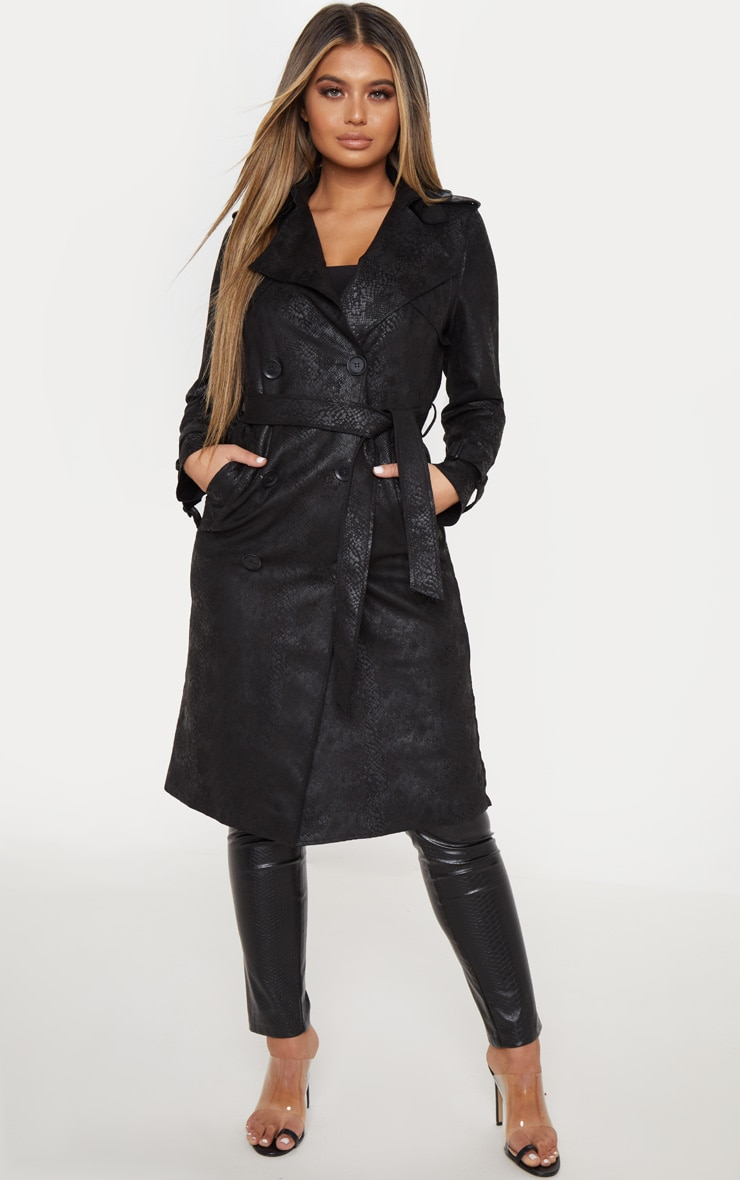 Black Snakeskin Trench Coat