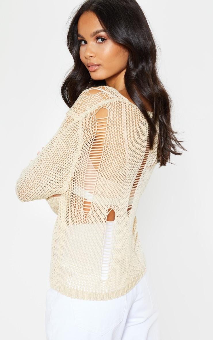 Stone Distressed Crochet Long Sleeve Top 2