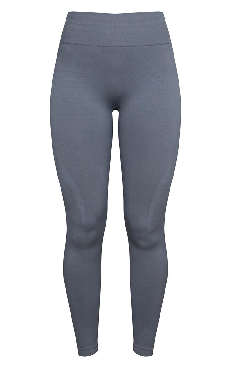 Grey Basic Detail Seamless High Waist Gym Legging 5