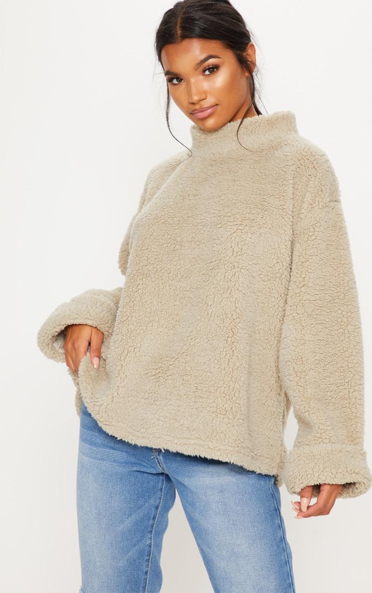 Deep Stone High Neck Borg Sweater 4