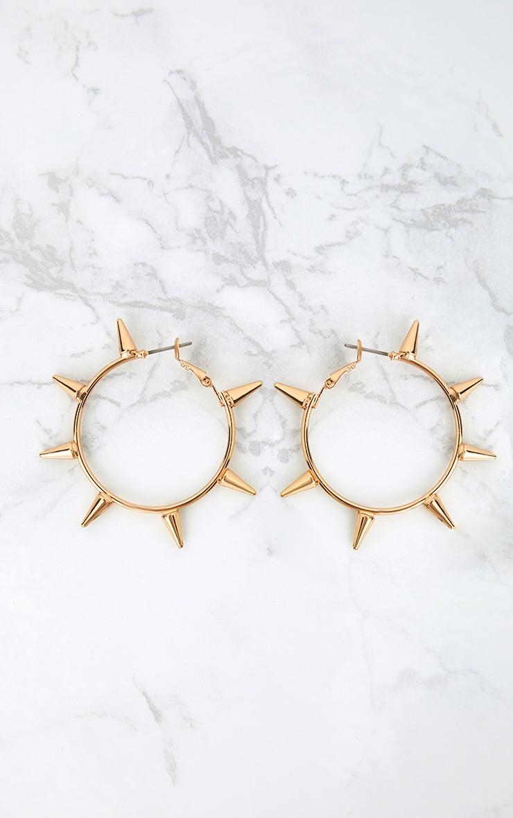 Gold Spiked Hoop Earrings 3
