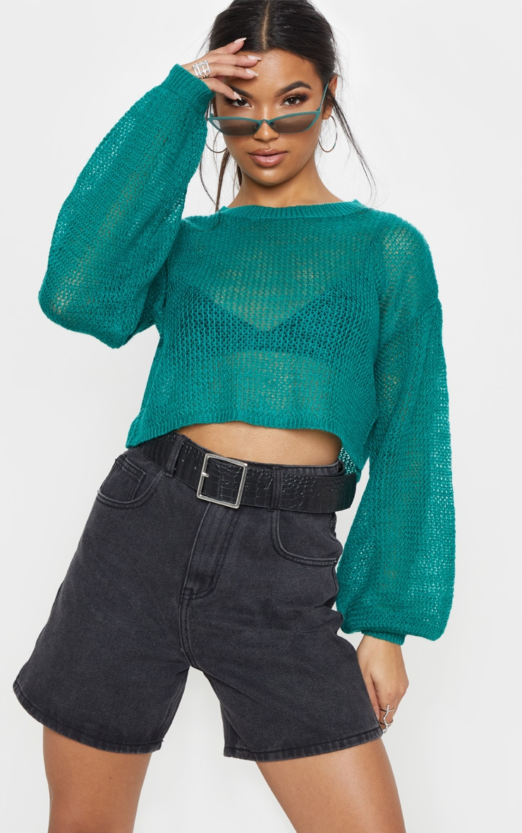 Teal Laguna Knitted Wide Sleeve Cropped Jumper 1