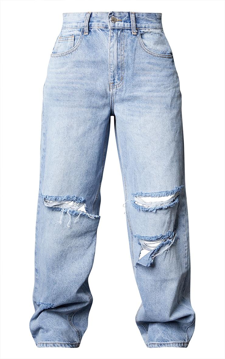 Bleach Wash Baggy Low Rise Ripped Boyfriend Jeans 5