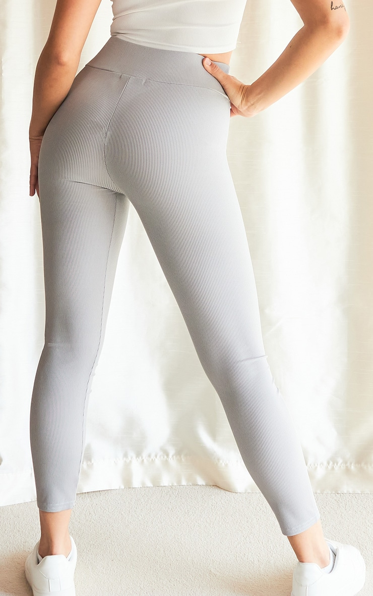 Grey Ribbed High Waisted Leggings 3