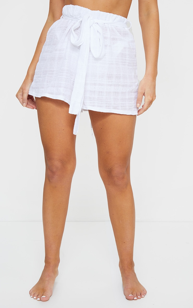 White Tie Waist Textured Beach Shorts 2