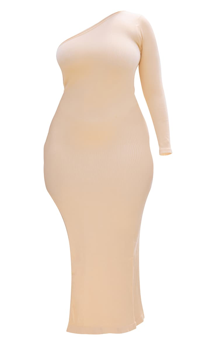 Plus Peach Rib Contour One Sleeve Split Maxi Dress 5