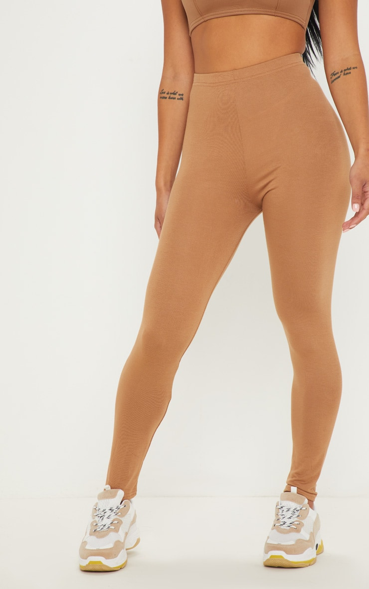 Petite Clarinda Camel Basic Leggings 2