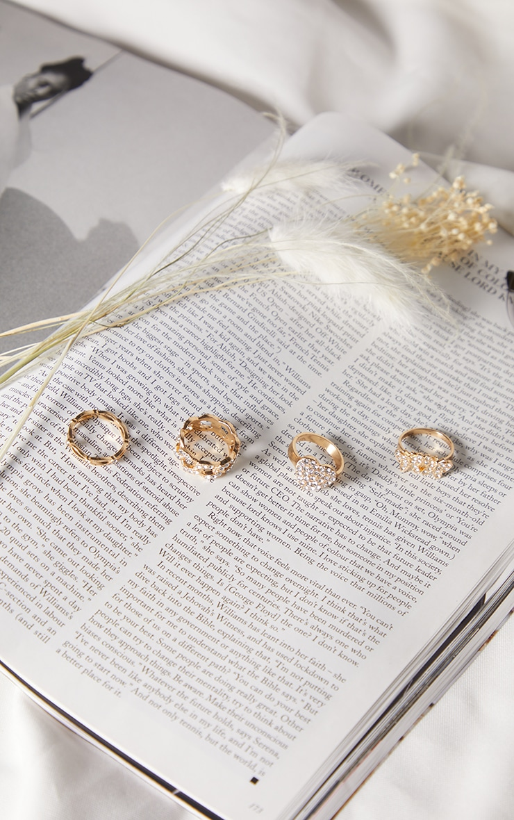 Gold Diamante Butterfly Assorted 4 Pack Rings 2
