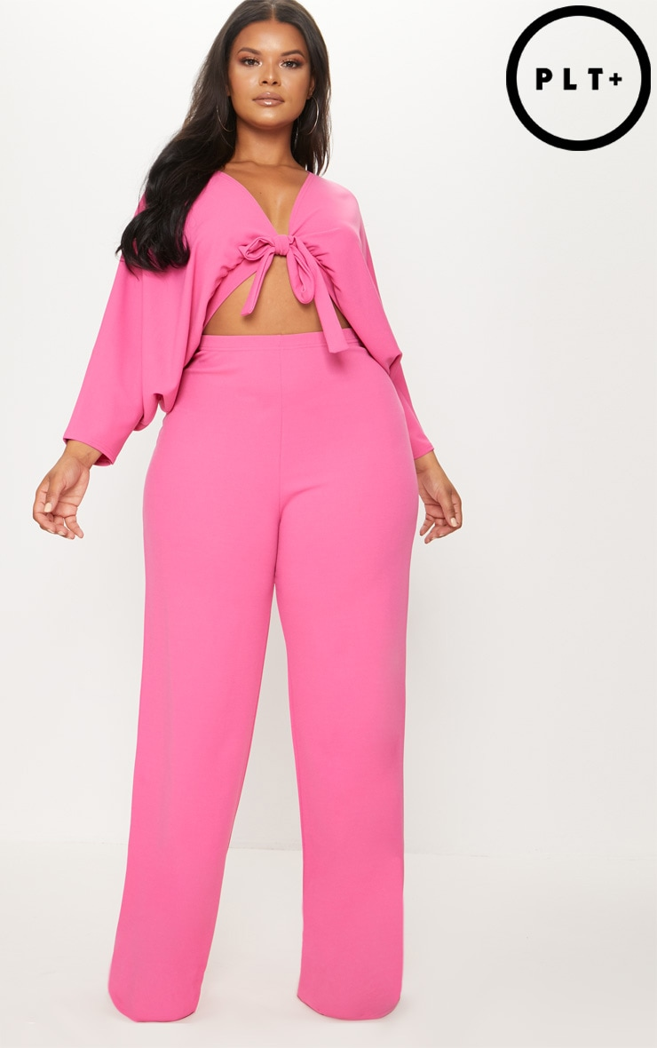 Plus Hot Pink Crepe Batwing Cut Out Jumpsuit