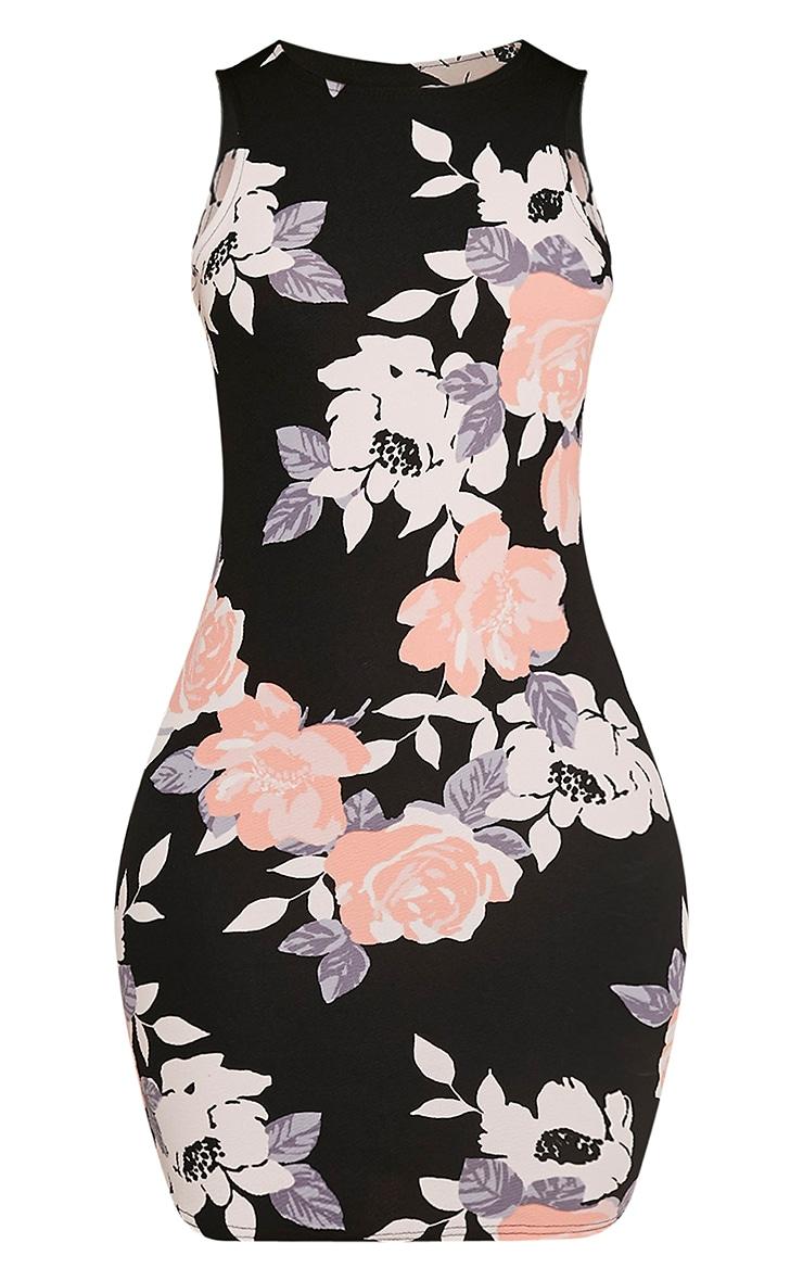 Kamaya robe mini noire devant nageur à fleurs 2