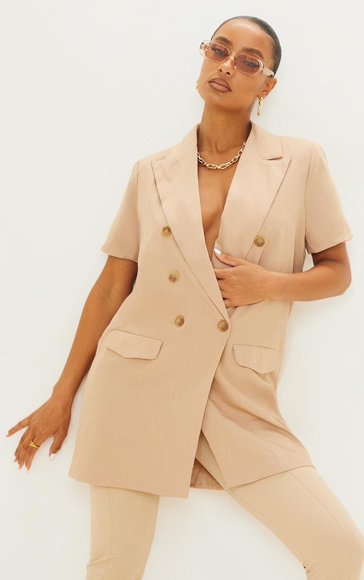 Beige Woven Short Sleeve Longline Blazer 3