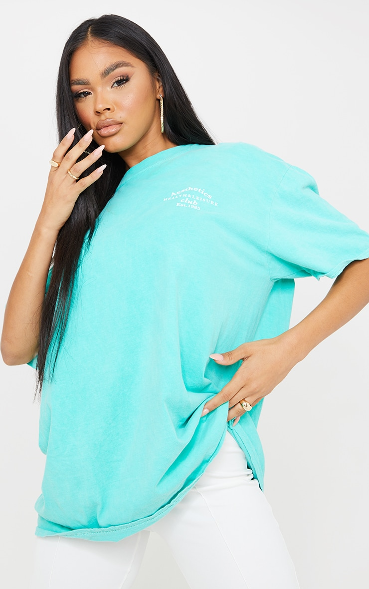 Aqua Blue Health Club Print Washed T Shirt 1