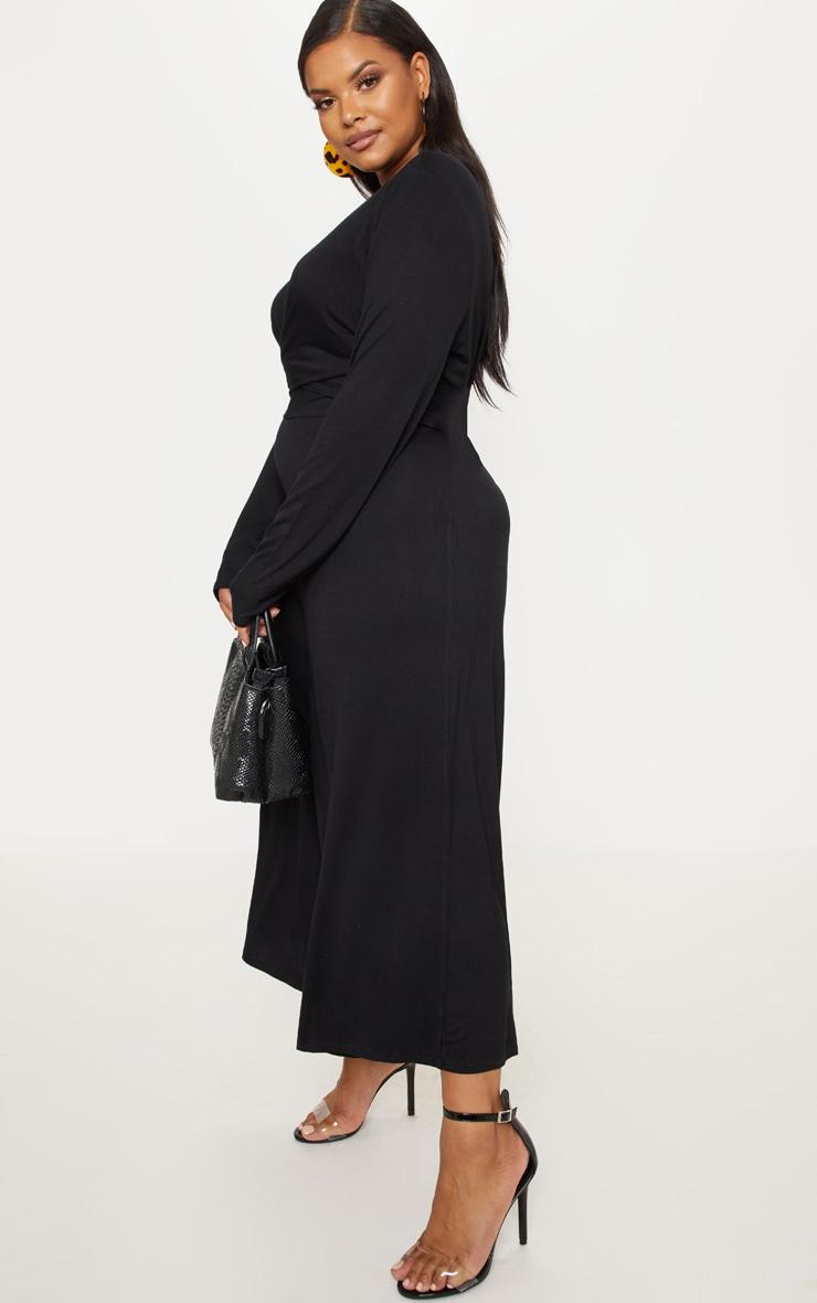 Plus Black Twist Front Culotte Jumpsuit 4