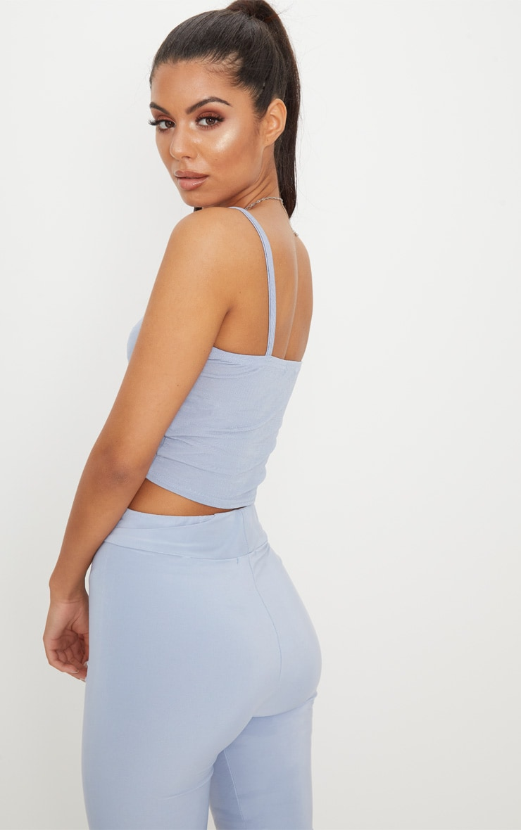 Baby Blue Ruched Front Strappy Crop Top 2