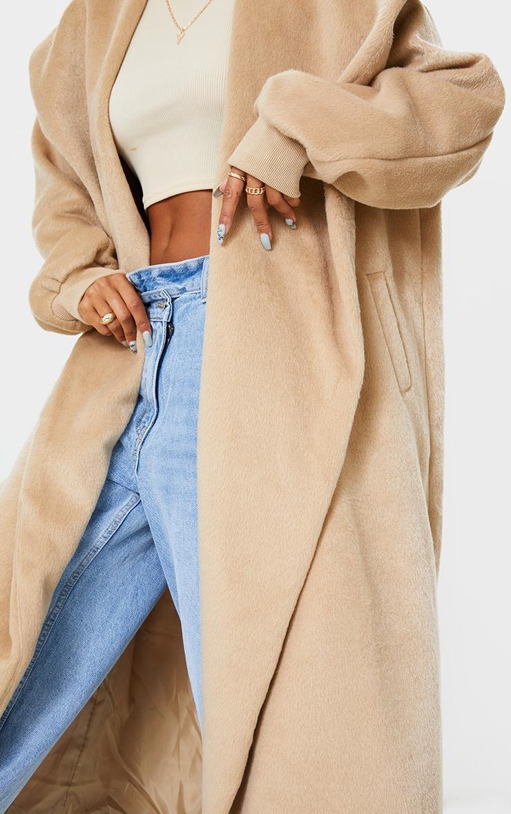 Manteau en laine effet brossé camel à détail col et manches ballon 5