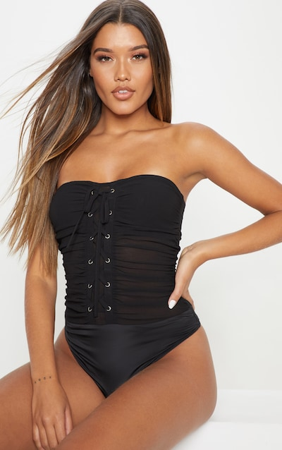 Black Chiffon Lace Up Bandeau Bodysuit
