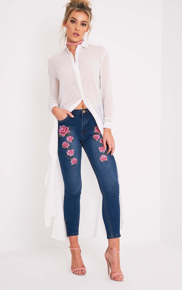 Mid Wash Embroidered High Waisted Skinny Jean 1