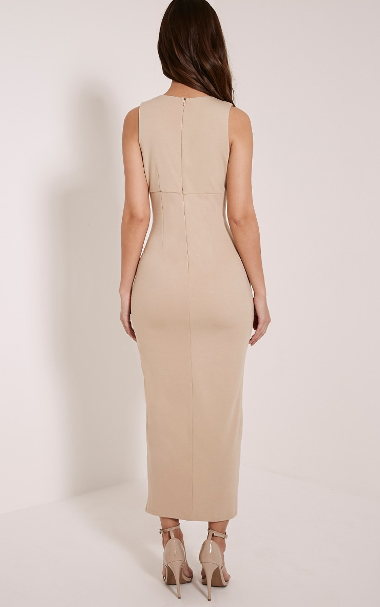 Ally Taupe Pin Detail Plunge Midi Dress 2