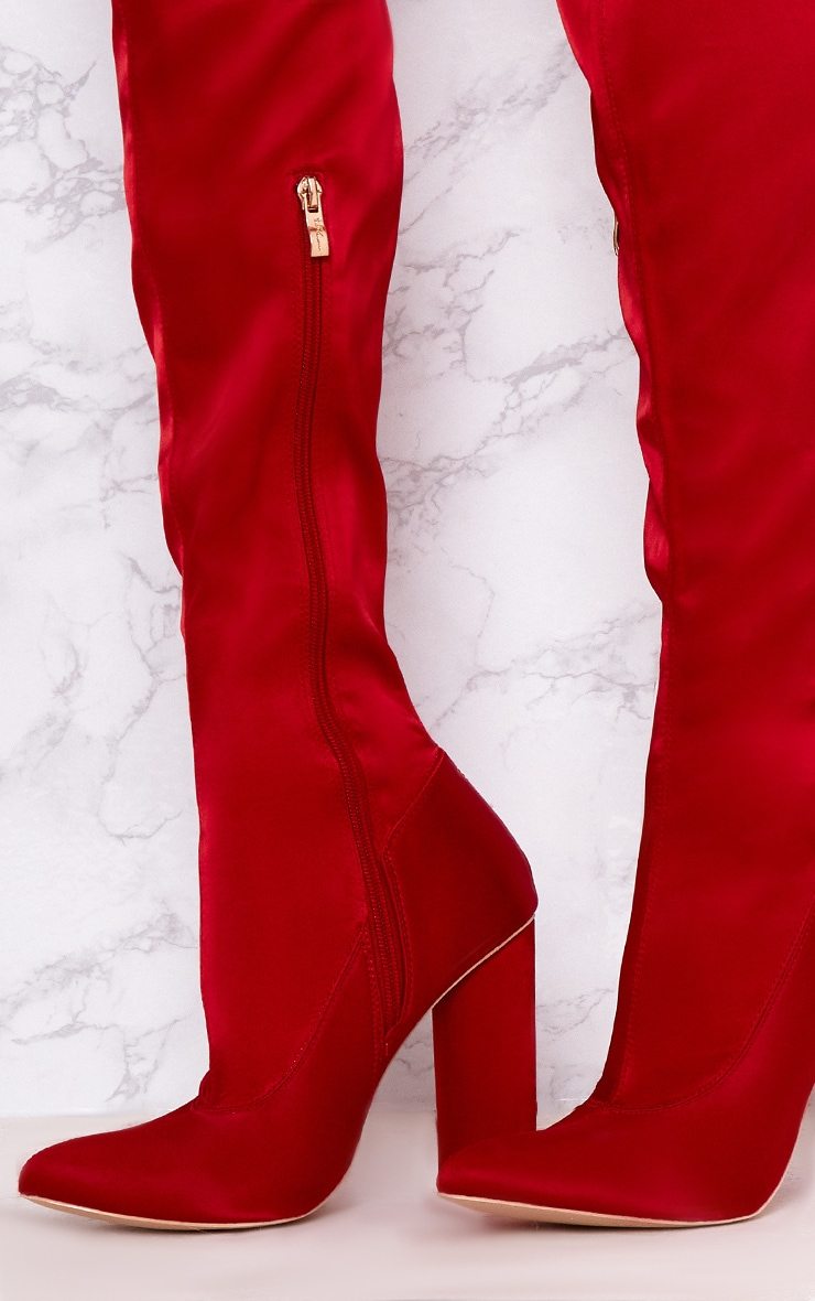 Red Stretch Satin Sock Thigh High Boots 5