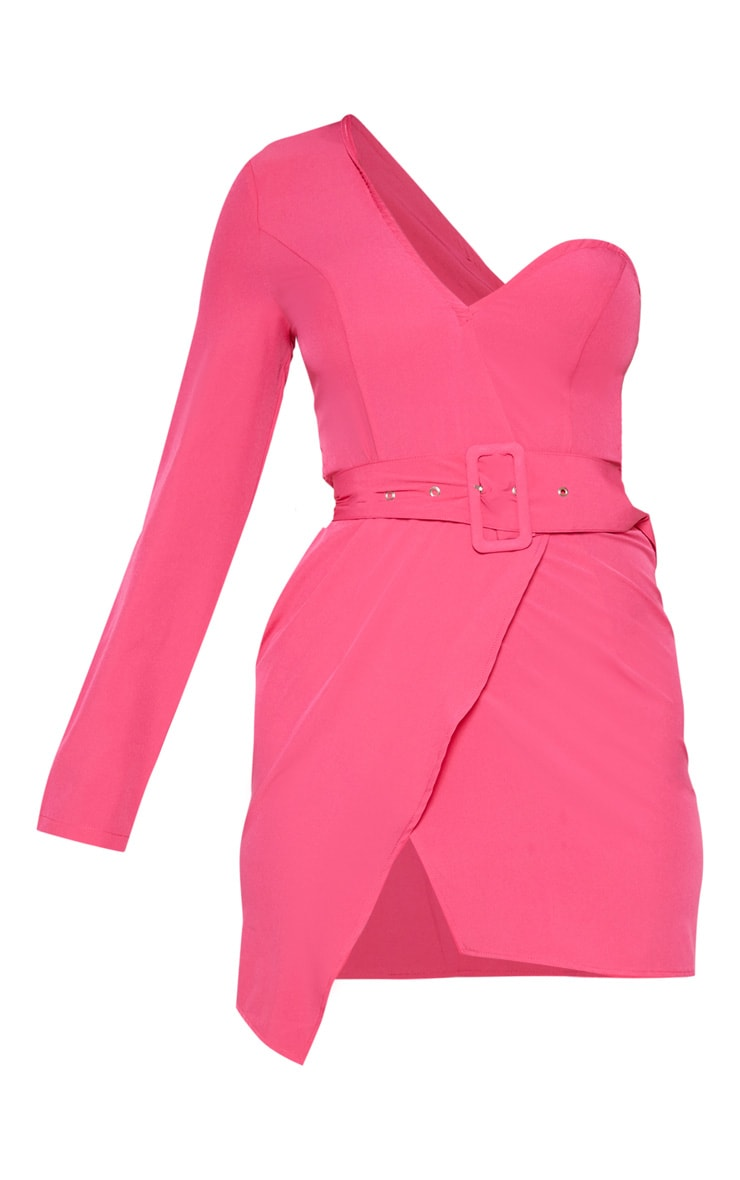 Hot Pink One Shoulder Belted Bodycon Dress 3