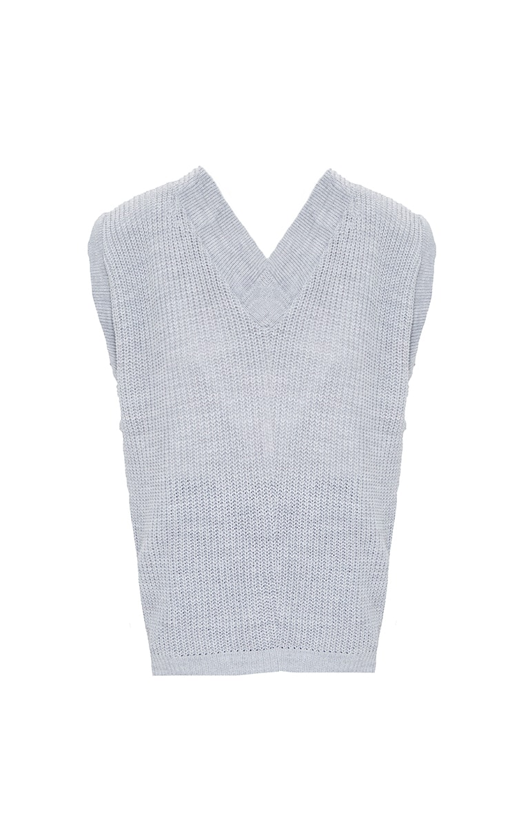 Petite Grey V Neck Sleeveless Sweater 5