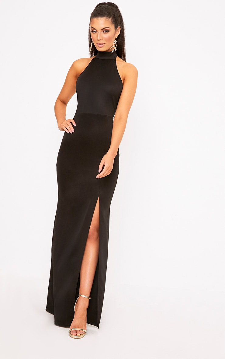 Black High Neck Maxi Dress 1