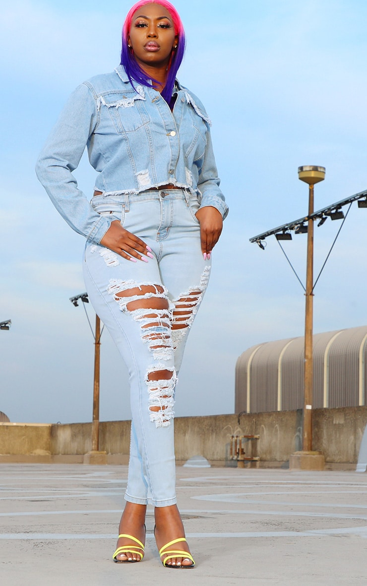 Tall  Light Wash Extreme Distressed Rip Mom Jeans 1
