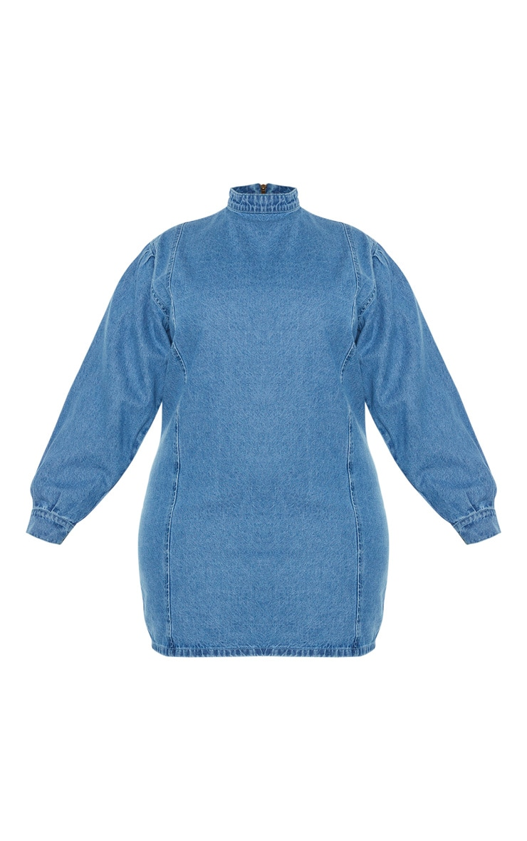 Plus Mid Blue Wash Denim Shift Style Dress 3