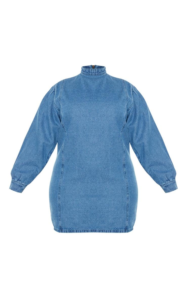 PLT Plus - Robe droite en jean moyennement délavé  3