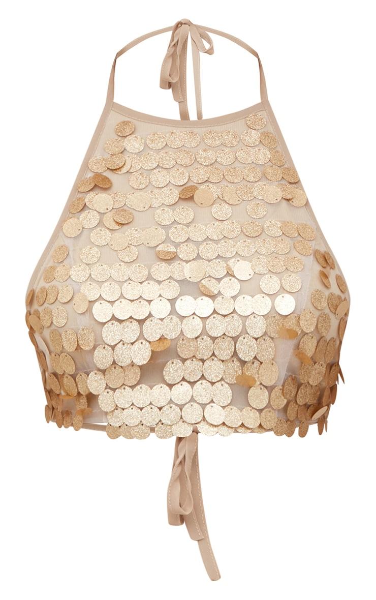 Gold Glitter Sequin Halterneck Crop Top 3