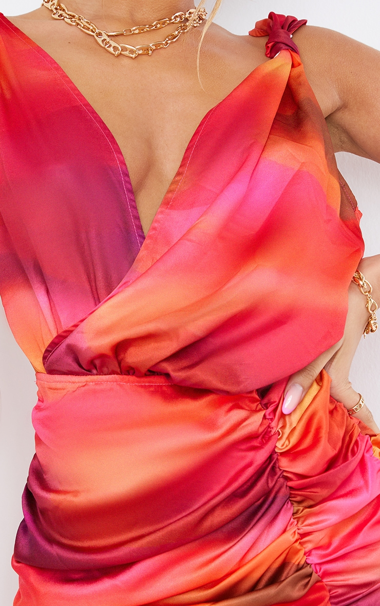 Pink Abstract Print Satin Plunge Wrap Ruched Bodycon Dress 4