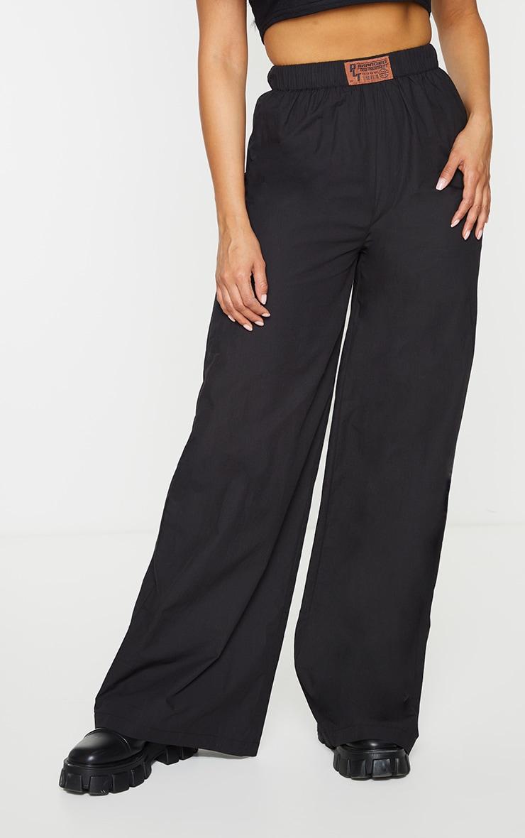 PRETTYLITTLETHING Black Badge Detail Cotton Wide Leg Trousers 2