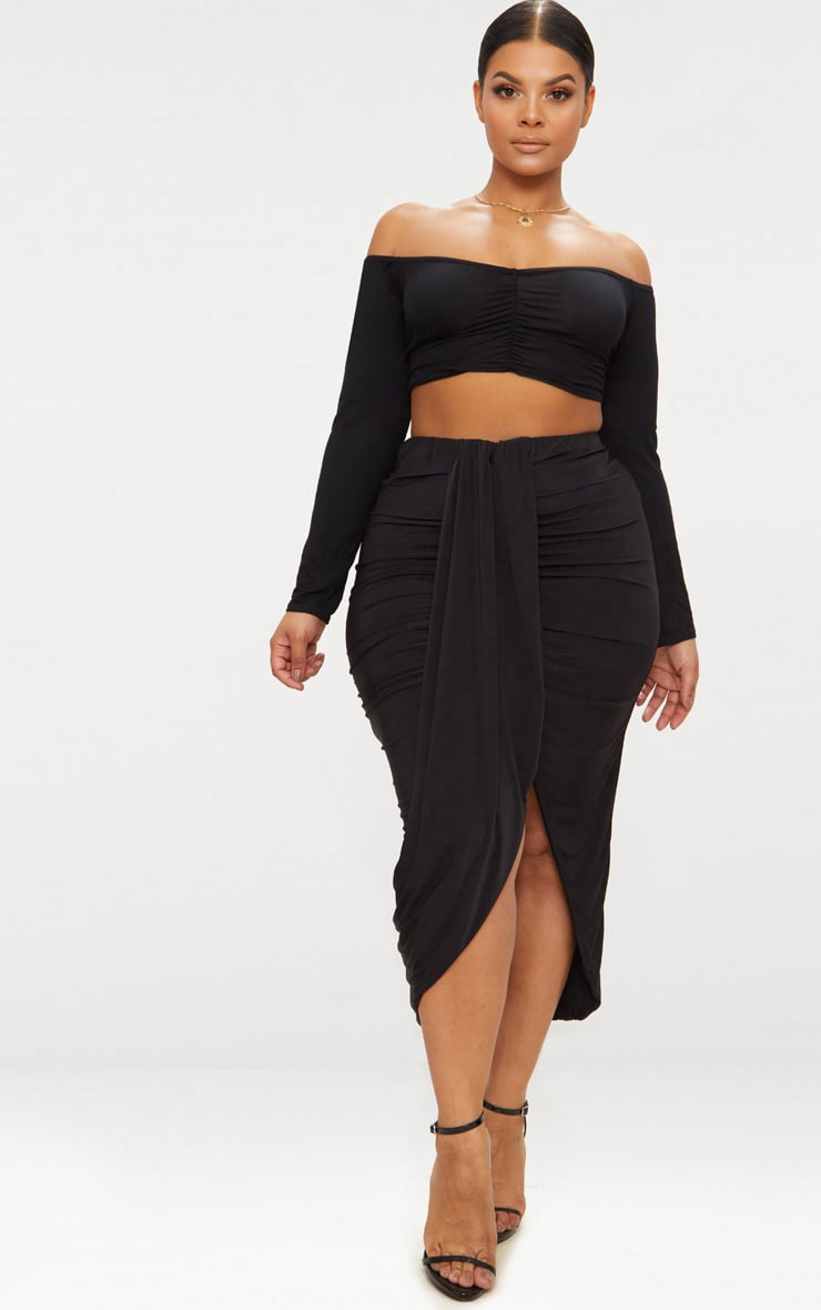 Plus Black Slinky Ruched Wrap Front Midi Skirt 1