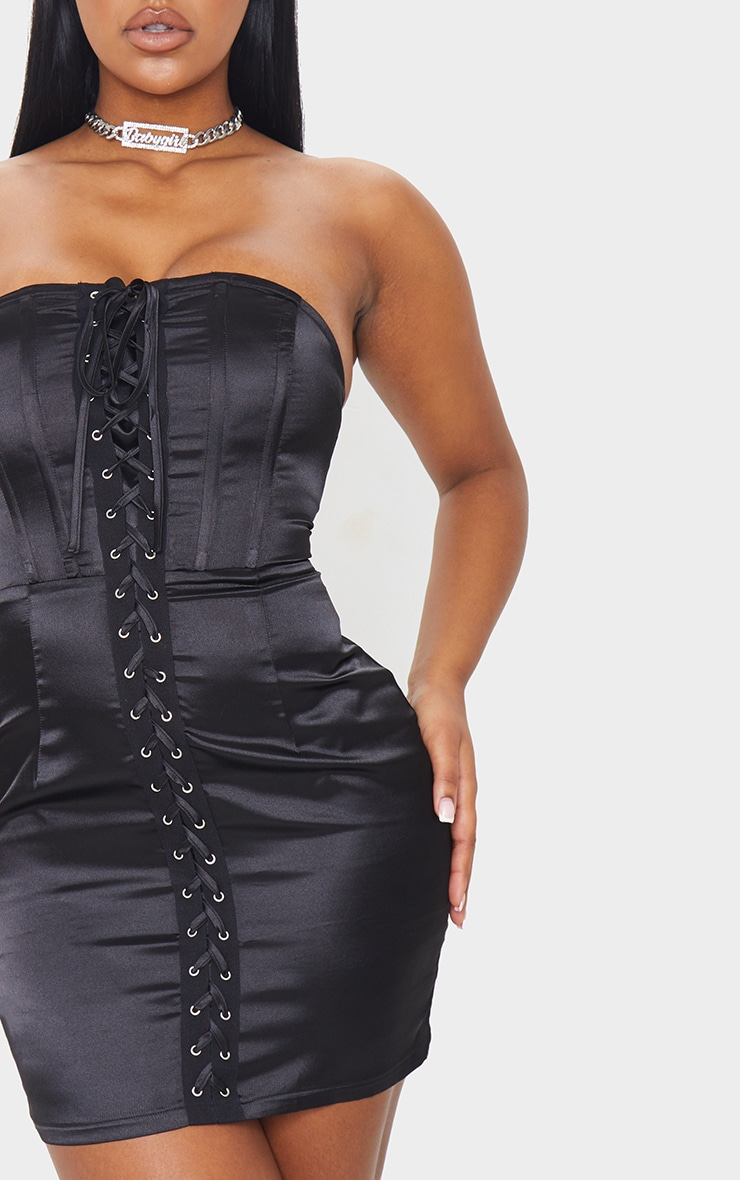 Black Satin Lace Up Corset Detail Bandeau Bodycon Dress 4