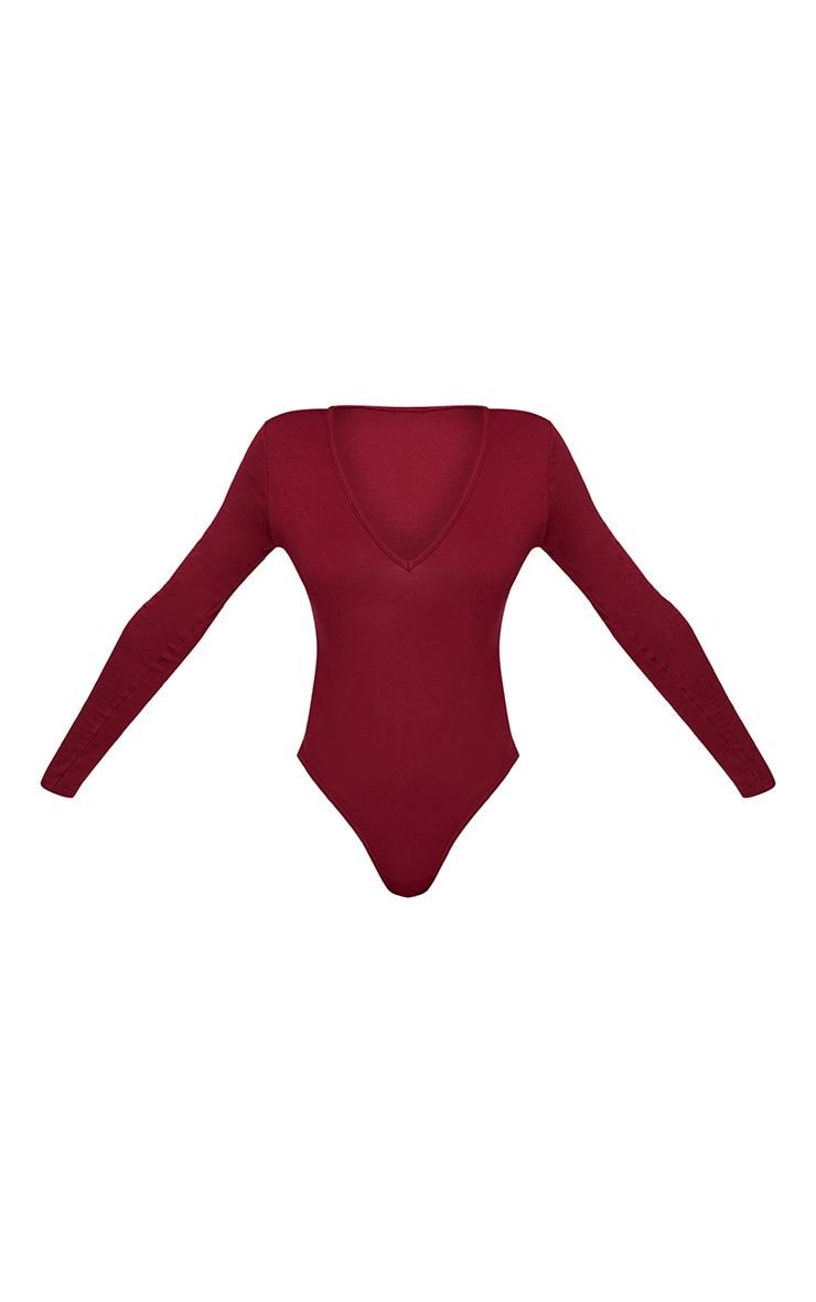 Basic Burgundy V Neck Long Sleeve Jersey Thong Bodysuit 3