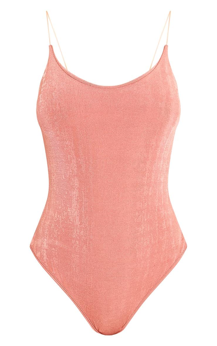 Odele Coral Shimmer Slinky Strappy Thong Bodysuit 3