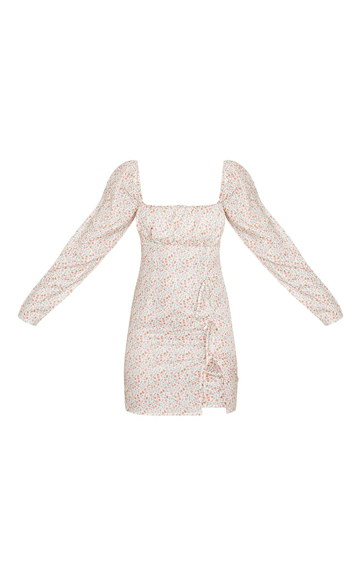 Cream Ditsy Print Bow Detail Side Split Bodycon Dress 5