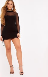 976cf4c7e13 Nera Black Mesh High Neck Bodycon Dress image 4