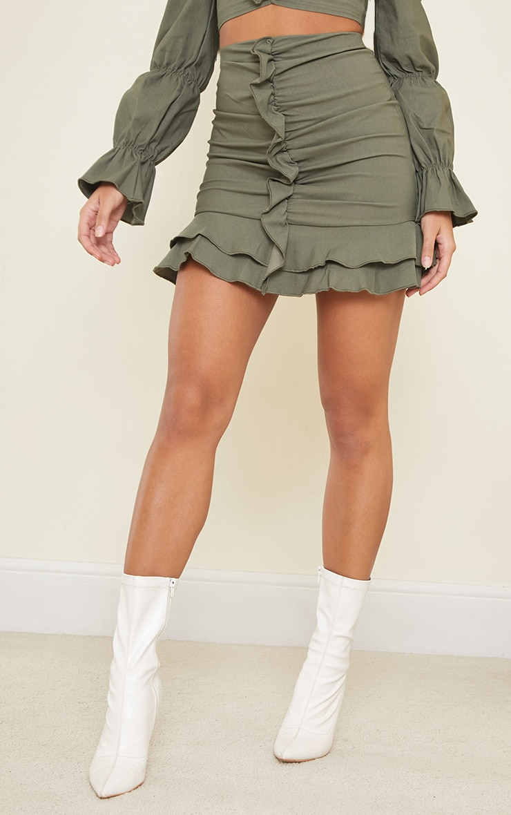Khaki Woven Stretch Frill Ruched Front Mini Skirt 2