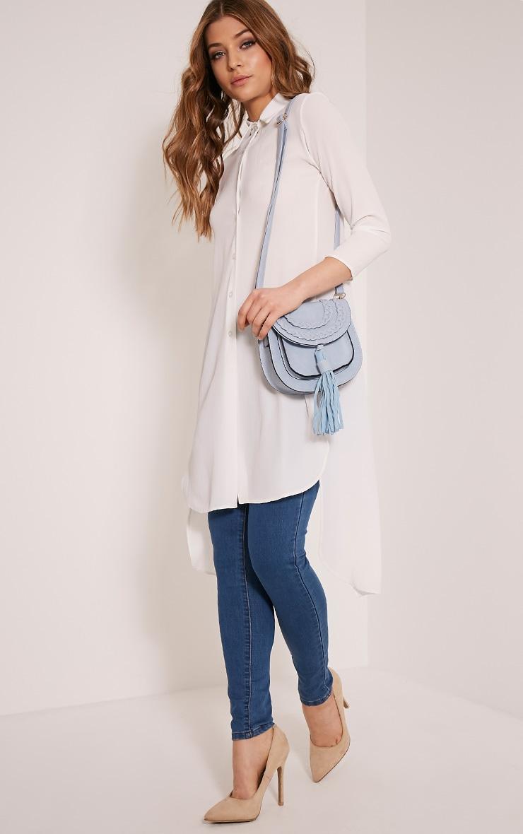 Beti Baby Blue Tassel Shoulder Bag 4